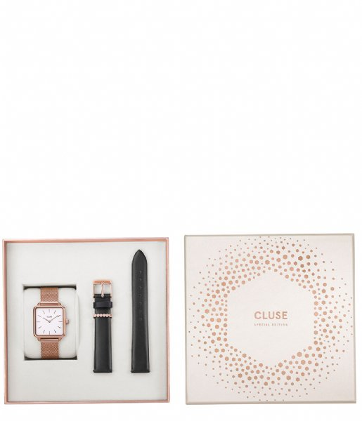 CLUSE  Special Edition La Tetragone Rose Gold Plated Mesh rose gold plated mesh black gift box (CLG014)