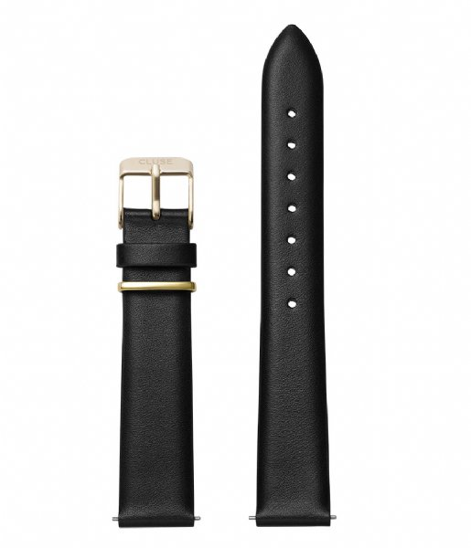 CLUSE  Strap 16 mm Leather Gold Plated black gold plated (CS1408101044)