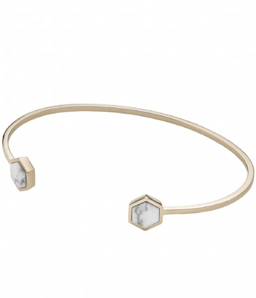 CLUSE  Idylle Hexagons Open Cuff Bracelet gold plated marble (CLJ11003)
