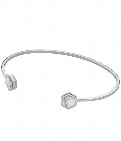 CLUSE  Idylle Hexagons Open Cuff Bracelet silver color marble (CLJ12003)