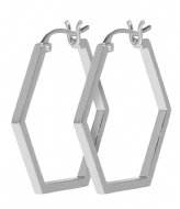 CLUSE Essentiele Hexagonal Hoop Earrings silver color (CLJ52004)