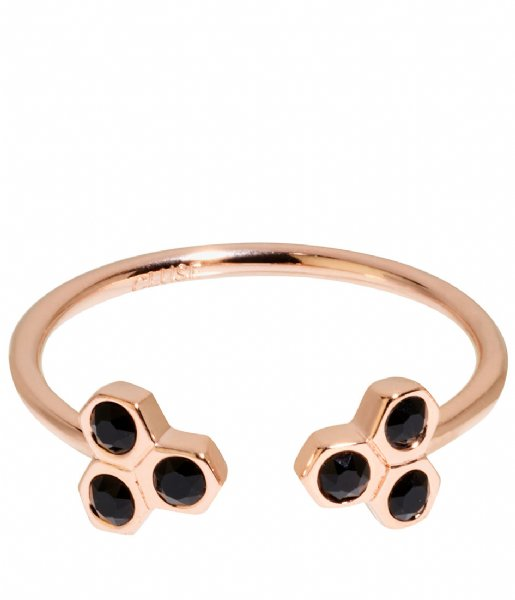 CLUSE  Essentiele Black Crystal Hexagons Open Ring rose gold plated (CLJ40008)