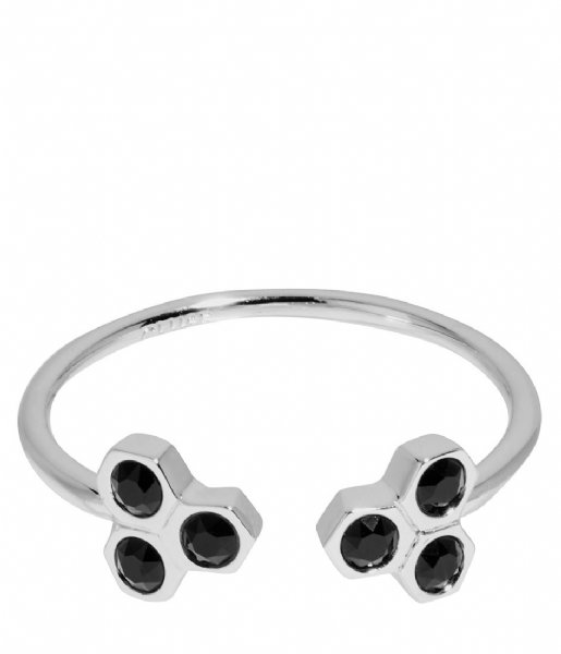 CLUSE  Essentiele Black Crystal Hexagons Open Ring silver plated (CLJ42008)