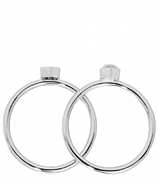 CLUSE  Idylle Solid Marble Hexagon Set of Two Rings silver plated (CLJ42001)