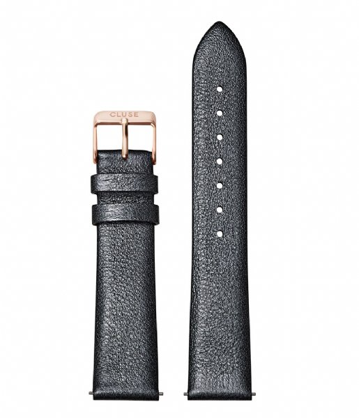 CLUSE  Strap Leather 18 mm Rose Gold Colored dark grey metallic (CS1408101060)