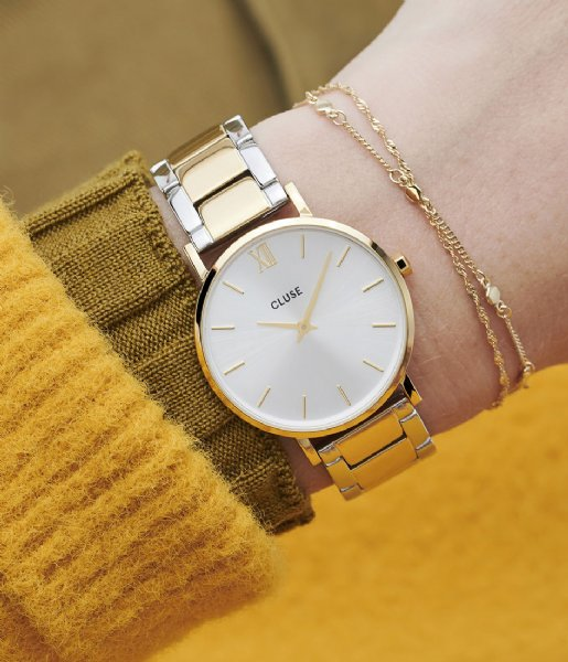CLUSE Watch  Minuit Three Link Gold Plated Silver Colored gold plated silver colored (CW0101203028)