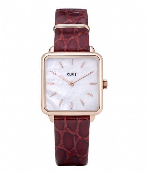 CLUSE  La Tetragone Leather Rose Gold Plated White Pearl white pearl dark red alligator (CW0101207029)