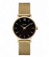 CLUSE Minuit Special Mesh Gold Plated Black Stardust Gift Box Gold plated black stardust & black leather strap