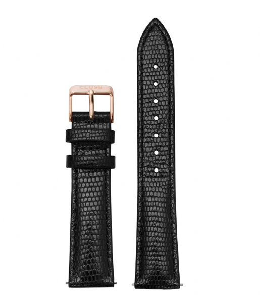 CLUSE  Strap 18 mm Leather Rose Gold Plated black lizard (CS1408101012)