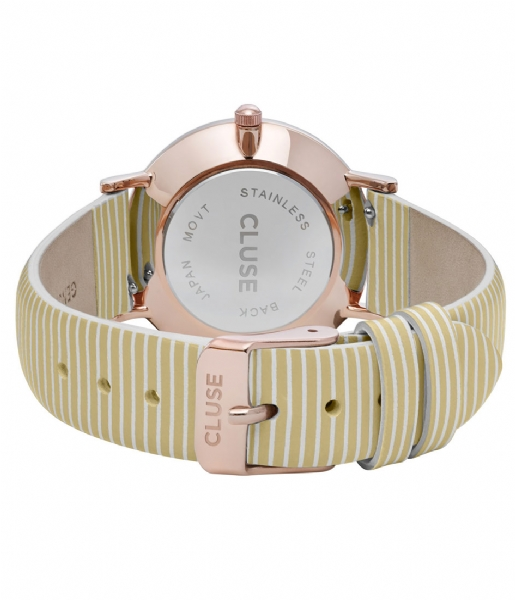 CLUSE  Minuit Rose Gold Colored White sunny yellow stripes (CL30032)
