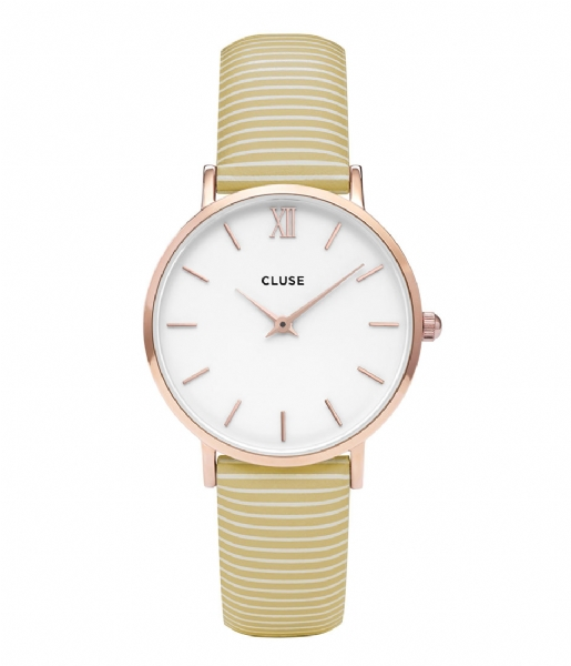 CLUSE  Minuit Strap Sunny Yellow Stripes sunny yellow stripes rosegold plated (CLS362)