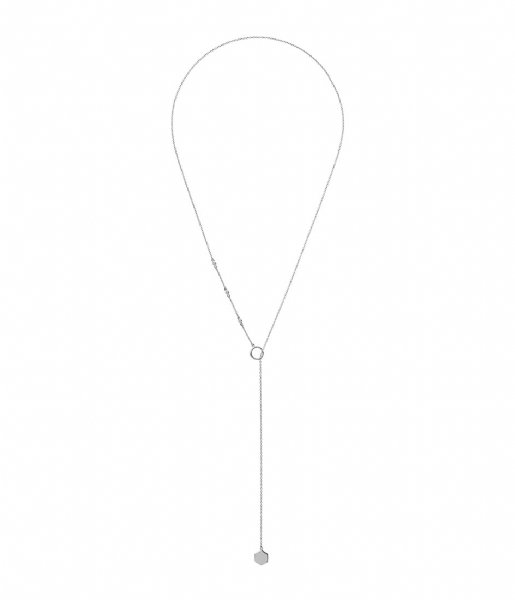 CLUSE  Essentielle Hexagon Charm Lariat Necklace silver plated (CLJ22013)