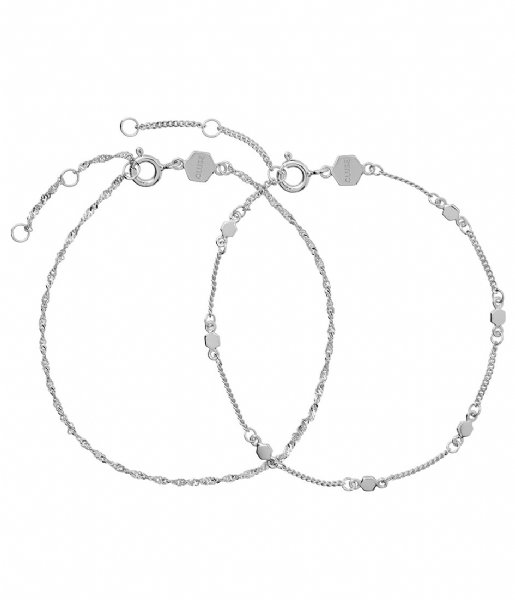 CLUSE  Essentielle Set Of Two Twisted And Hexagon Chain Bracelet silver colored (CLJ12019)