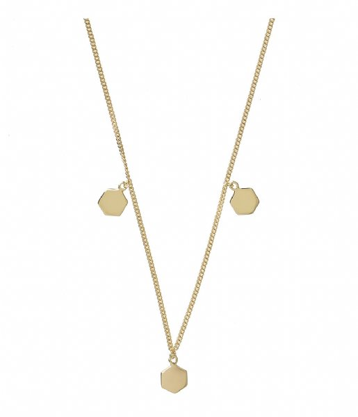 CLUSE  Essentielle Three Hexagon Charms Necklace gold plated (CLJ21012)