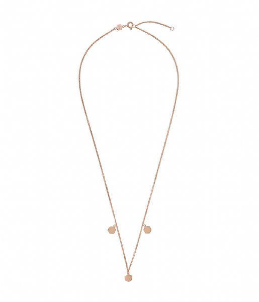 CLUSE  Essentielle Three Hexagon Charms Necklace rose gold plated (CLJ20012)
