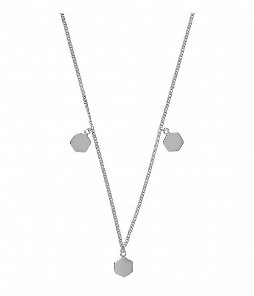 CLUSE  Essentielle Three Hexagon Charms Necklace silver plated (CLJ22012)