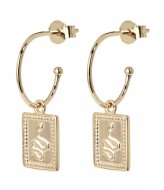CLUSE Force Tropicale Hoop Tag Pendant Earrings gold plated (CLJ51019)