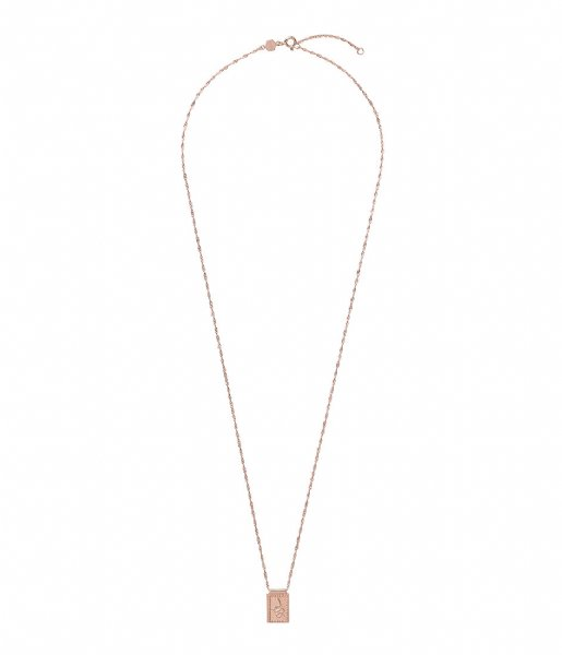 CLUSE  Force Tropicale Twisted Chain Tag Pendant Necklace rose gold plated (CLJ20014)