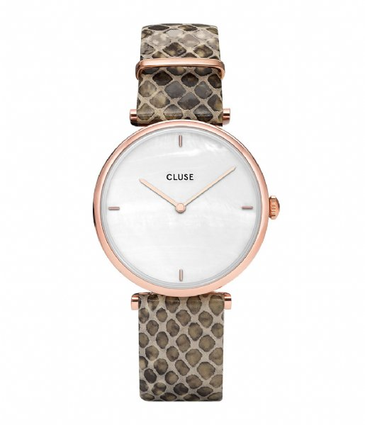 CLUSE  Triomphe Rose Gold Plated White Pearl soft almond python (CL61007)