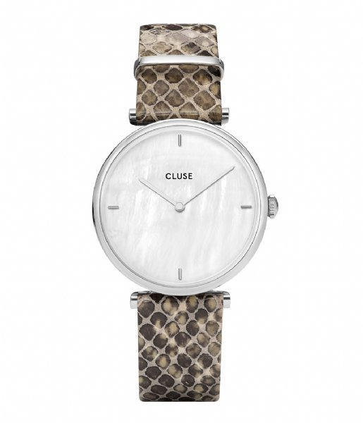 CLUSE  Triomphe Silver Colored White Pearl soft grey python (CL61009)