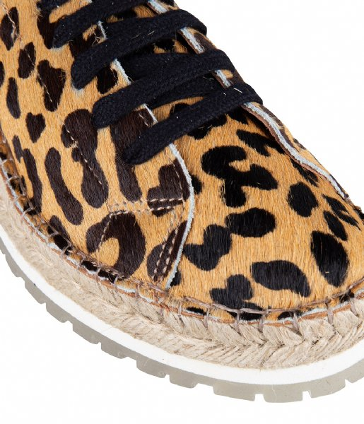 Shabbies  Espadrille Lace Up Leopard cognac