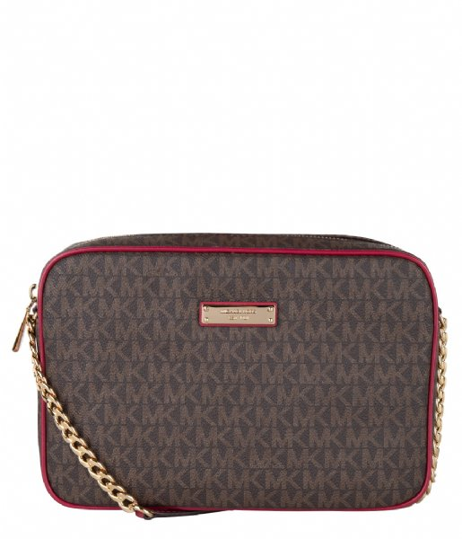 Michael Kors  Large Ew Crossbody berry & gold colored hardware