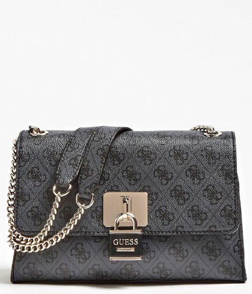 Downtown Cool Convertible Crossbody Flap coal Guess   The