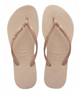 Havaianas Flipflops Slim Crystal Glamour rose gold colored metallic (8548)