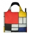 LOQIFoldable Bag Museum Collection composition with red yellow blue and black