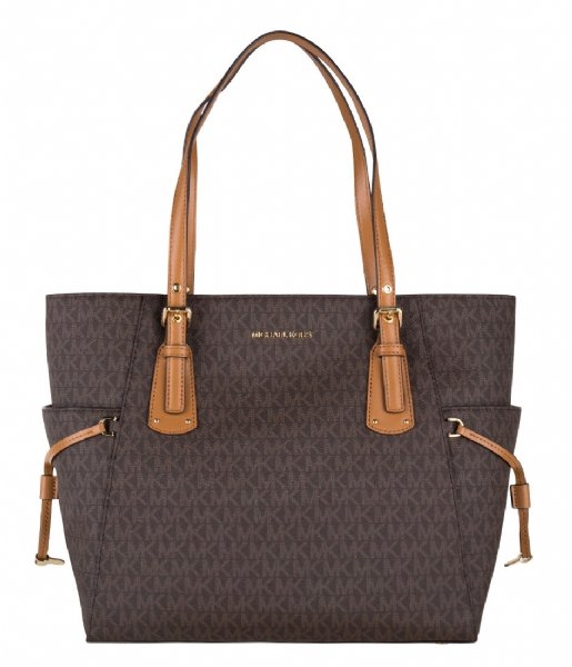 Michael Kors  Voyager EW Signature Tote brown & gold colored hardware