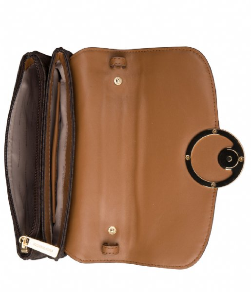 Fulton Flap Gusset Crossbody brown & gold colored hardware