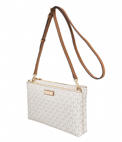 Adele Double Zip Crossbody vanilla & gold hardware Michael
