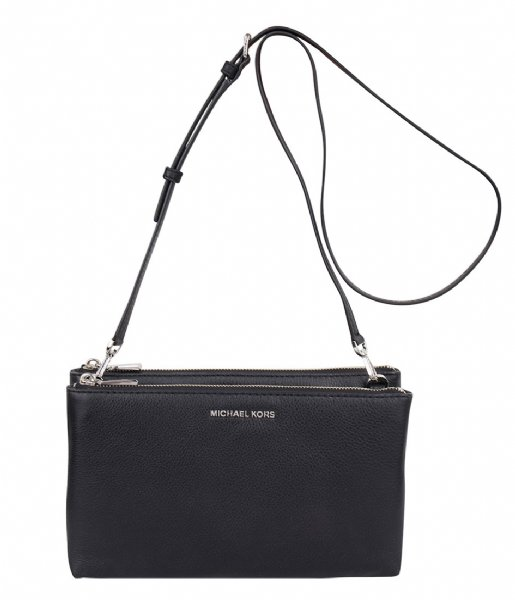 de55c60e58677e Adele Double Zip Crossbody black & silver hardware Michael Kors ...