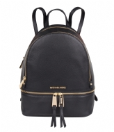 Michael Kors Rhea Zip Medium Backpack black & gold colored hardware