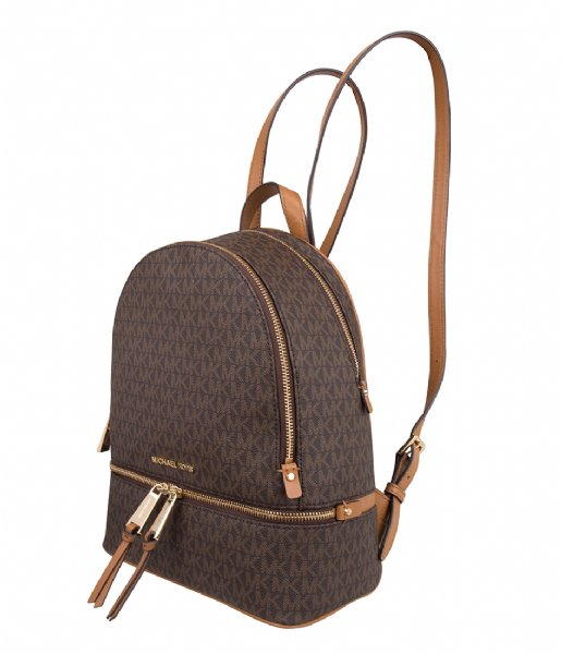 Michael Kors  Rhea Zip Medium Backpack brown & gold colored hardware