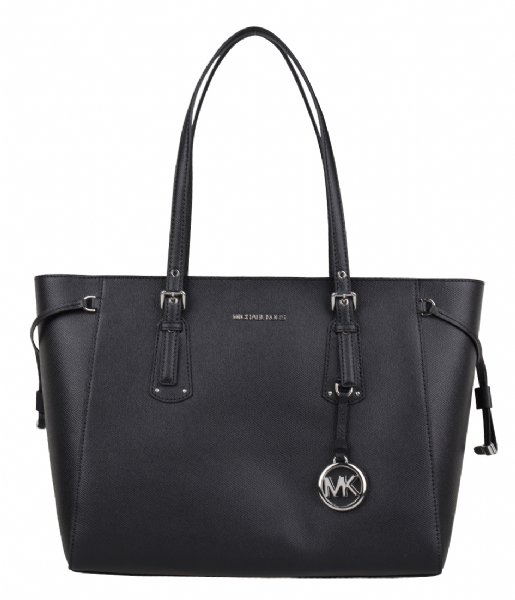 Voyager Medium Top Zip Tote black & silver colored hardware