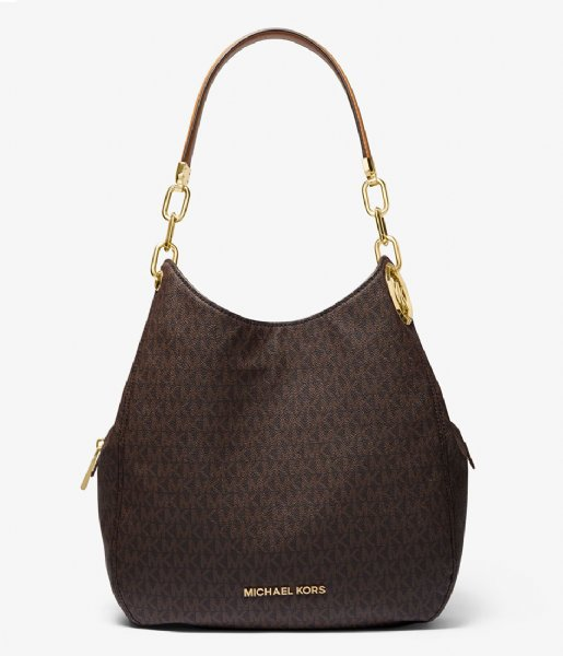 Michael Kors  Lillie Large Chain Shoulder Tote brown acorn & gold colored hardware