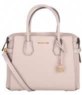 Michael Kors Mercer Belted Medium Satchel soft pink & gold colored hardware