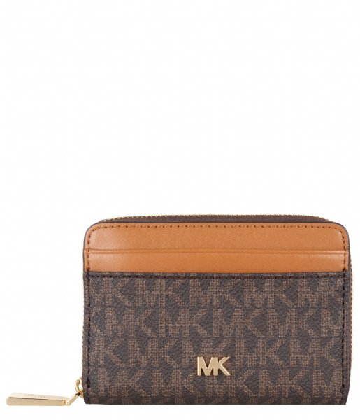 Michael Kors  Mott Zip Around Card Case brown acorn & gold hardware
