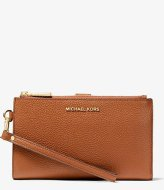Michael Kors Double Zip Wristlet luggage & gold colored hardware