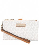 Michael Kors Double Zip Wristlet vanilla & gold colored hardware
