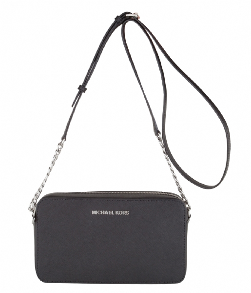 320f7cd16b55b2 Jet Set Travel Medium EW Crossbody black & silver hardware Michael ...