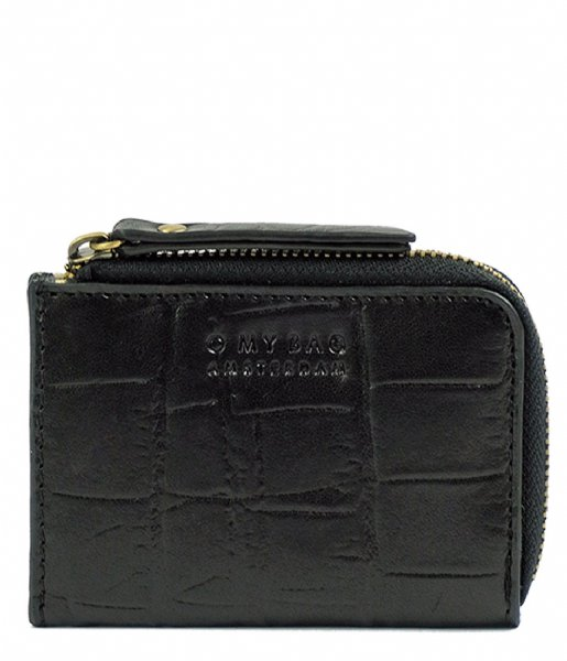O My Bag  Coco Coin Purse Croco Zwart Croco Classic Leather