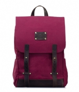 O My Bag Mau Backpack 15 Inch burgundy waxed canvas / brown hunter