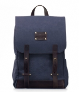 O My Bag Mau Backpack 15 Inch navy waxed canvas / dark brown hunter