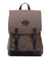 O My Bag Mau Backpack 15 Inch olive waxed canvas & eco dark brown