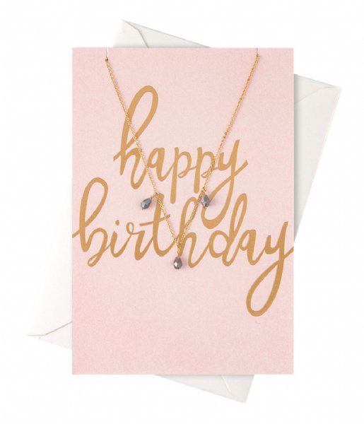 Orelia  Happy Birthday Giftcard Necklace pale gold plated (22102)