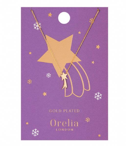 Orelia  Shooting Star Charm Necklace gold plated (22375)