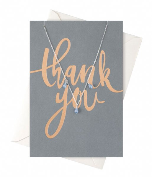 Orelia  Thank You Drop Necklace Giftcard silver plated (22100)