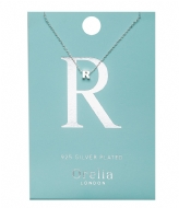 Orelia Necklace Initial R silver plated (21159)